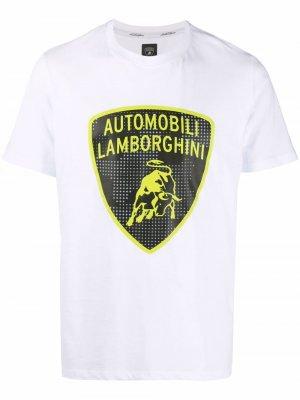 Футболка с логотипом Automobili Lamborghini. Цвет: белый