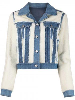 Джинсовая куртка с меховыми вставками Yves Salomon Army. Цвет: синий