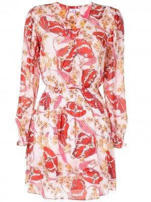 Платье с V-образным вырезом и присборенной талией Parker. Цвет: розовый