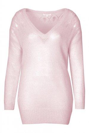 Розовый пуловер с ажурной отделкой Patrizia Pepe
