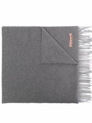 Logo patch cashmere scarf Acne Studios. Цвет: серый