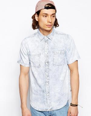 Мраморная джинсовая рубашка Altamont. Цвет: синий