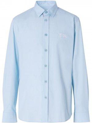 Рубашка с длинными рукавами и монограммой Burberry. Цвет: синий