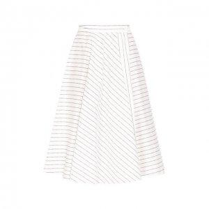 Хлопковая юбка Terekhov Girl. Цвет: белый