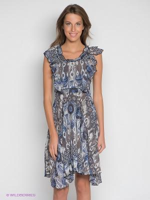 Платье DRS Deerose. Цвет: коричневый, синий