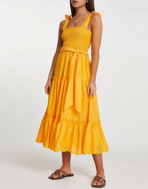 Оранжевое пляжное платье миди с оборками -Оранжевый цвет River Island