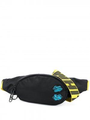 Logo-strap belt bag Off-White. Цвет: черный