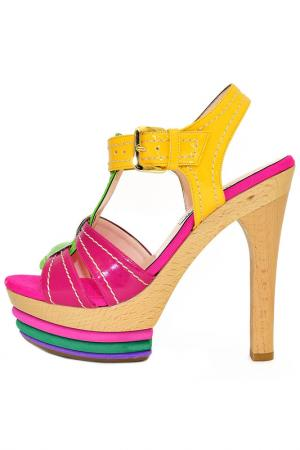 Босоножки Albano. Цвет: фуксия, зеленый, желтый