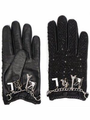 Перчатки K/Studio с подвесками Karl Lagerfeld. Цвет: черный