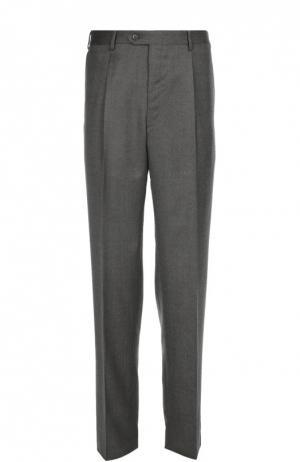 Классические брюки из смеси шерсти и шелка Brioni. Цвет: серый