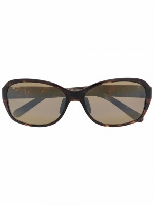 Солнцезащитные очки с мраморным узором Maui Jim. Цвет: коричневый