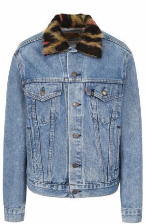 Джинсовая куртка с потертостями и декорированным воротником R13. Цвет: голубой
