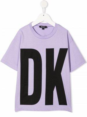 Logo-print organic-cotton T-Shirt Dkny Kids. Цвет: фиолетовый