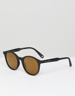 Черные круглые солнцезащитные очки TB1503 001 Odell Ted Baker. Цвет: черный
