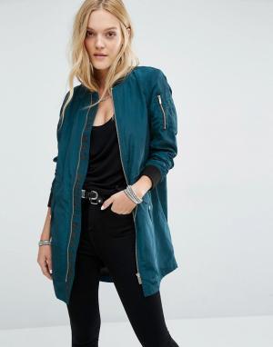 Удлиненная куртка‑пилот Noisy May. Цвет: синий