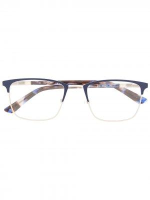 Очки в квадратной оправе черепаховой расцветки Calvin Klein. Цвет: синий