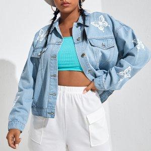 С карманами Животный Джинсовая куртка размера плюс SHEIN. Цвет: легко-синий