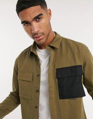 Бежевая рубашка с двумя карманами -Бежевый Religion