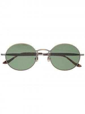 Солнцезащитные очки в круглой оправе с шорами Matsuda. Цвет: золотистый
