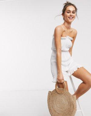 Белый пляжный ромпер из жатой ткани Influence