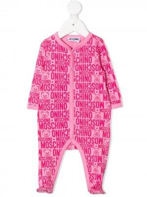 Комбинезон для новорожденного с монограммой Moschino Kids. Цвет: розовый
