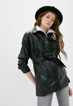 Куртка кожаная Izabella. Цвет: черный