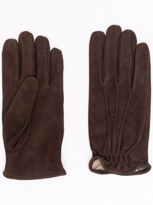 Перчатки с тональной строчкой Eleventy. Цвет: коричневый