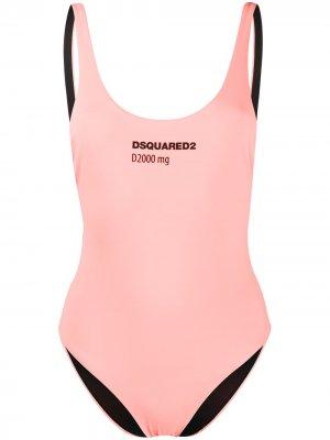 Купальник с логотипом Dsquared2. Цвет: розовый