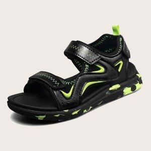 Спортивные сандалии на липучке для мальчиков SHEIN. Цвет: чёрный