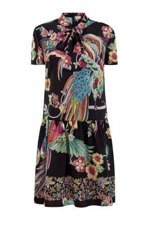 Платье из струящегося шелка с эксклюзивным принтом Bird of Paradise REDVALENTINO. Цвет: черный