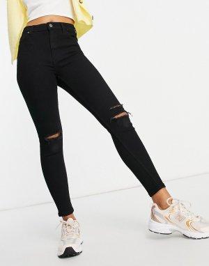 Черные зауженные джинсы с высокой посадкой и рваными коленями -Черный цвет Bershka