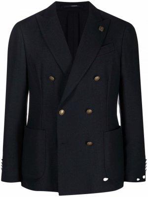 Двубортный пиджак из шерсти Lardini. Цвет: синий
