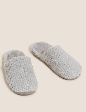 Тапочки Secret Support без задника из искусственного меха M&S Collection. Цвет: серый