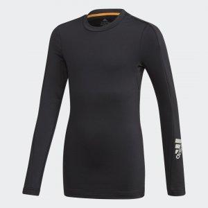 Теплый лонгслив для фитнеса Alphaskin AEROREADY Performance adidas. Цвет: черный