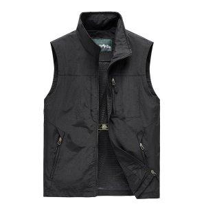 Мужской Жилет-куртка на молнии SHEIN. Цвет: чёрный