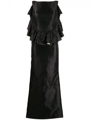Платье 2000-х годов с оборками Escada Pre-Owned. Цвет: черный