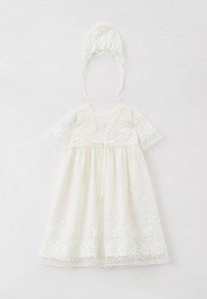 Комплект для крещения Choupette платье и чепчик. Цвет: белый
