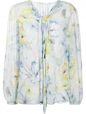 Блузка с цветочным принтом и завязками Jason Wu Collection. Цвет: синий