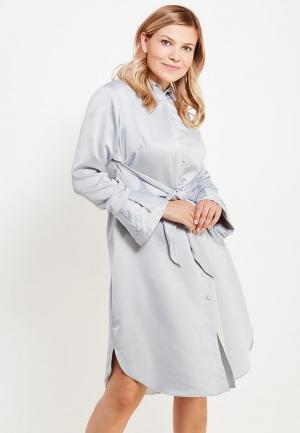 Платье LOST INK PLUS SHIRT DRESS WITH TIE WAIST. Цвет: серый
