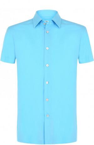 Рубашка из смеси хлопка и льна с короткими рукавами Kiton. Цвет: синий