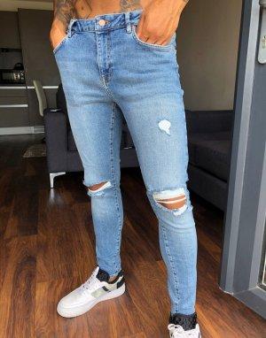 Синие рваные джинсы в винтажном стиле -Синий ASOS DESIGN