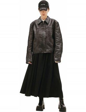 Черная кожаная куртка с потертостями Balenciaga