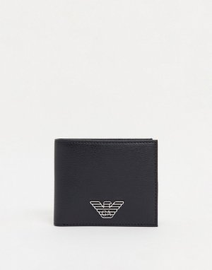 Черный складной бумажник с логотипом-орлом Emporio Armani