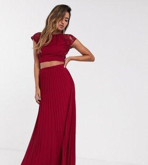 Плиссированная юбка макси винного цвета Bridesmaid-Красный TFNC