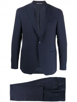 Строгий костюм с однобортным пиджаком Canali. Цвет: синий