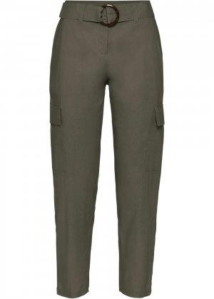 Льняные брюки bonprix. Цвет: зеленый