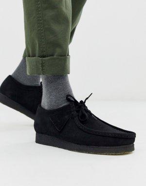 Черные замшевые туфли wallabee-Черный Clarks Originals