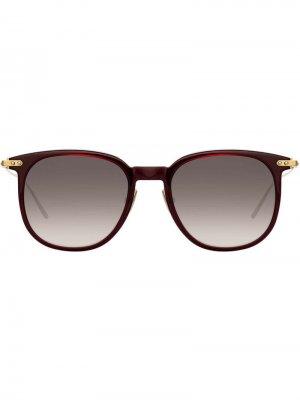 Солнцезащитные очки в квадратной оправе Linda Farrow. Цвет: красный