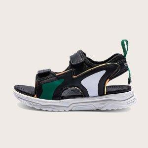 Спортивные сандалии для мальчиков с текстовым принтом SHEIN. Цвет: чёрный