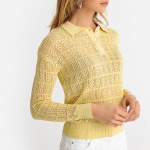 Пуловер с воротником-поло из тонкого ажурного трикотажа ANNE WEYBURN. Цвет: бледно-желтый,розовая пудра